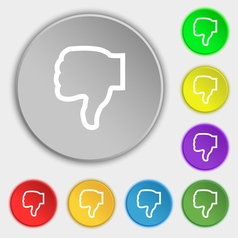 Dislike icon sign symbol on eight flat buttons vector