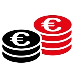 Euro coin stacks icon vector