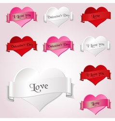 White red and pink valentine hearths and ribbon vector