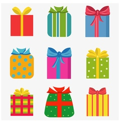 Set of nine colorful of different gift boxes vector
