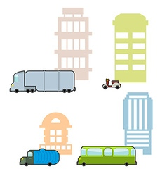 Set municipal transport and public buildings vector