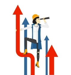 Woman with spyglass on rising arrow vector