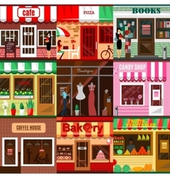 Set of flat shop building facades icons vector