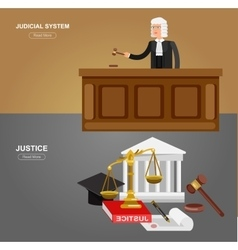 Law horizontal banner set with judical system vector