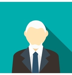 Man with gray hair and beard in a suit icon vector