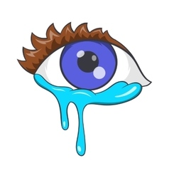 Crying eyes icon cartoon style vector