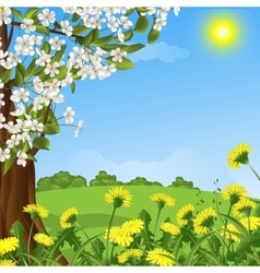 abstract background with a blossoming tree vector image