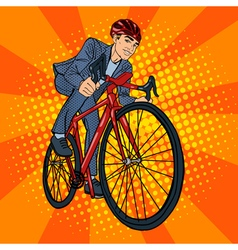 Businessman Riding a Bicycle Pop Art vector image vector image