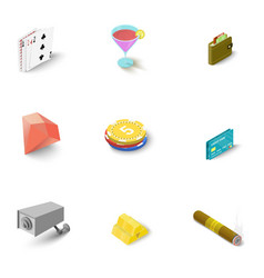 Casino icons set isometric style vector