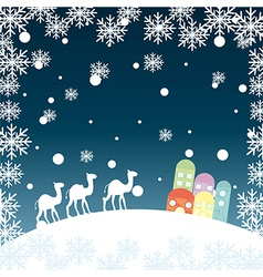 Christmas landscape with camels snowflakes and hou vector