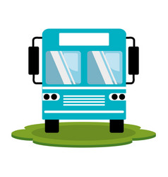 Color silhouette of bus front view vector