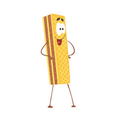 cute cartoon waffle with smiley face funny fast vector image vector image