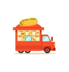 Flat street food van with fast food vector