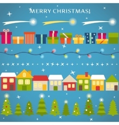Flat style borders and dividers set for Christmas vector image vector image