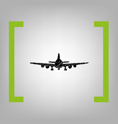 Flying plane sign front view black vector