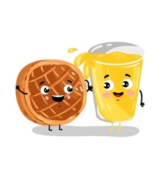 Funny baked pie and lemonade cartoon characters vector