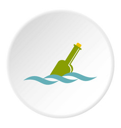 Glass green bottle in a water icon circle vector