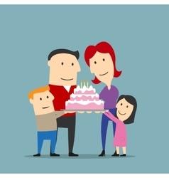 Happy family celebrating with big cake vector