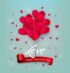 happy valentines day air heart balloon vector image vector image