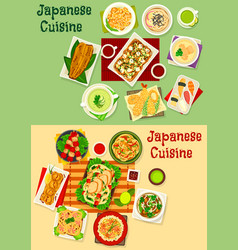 Japanese cuisine icon set for asian food design vector