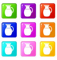 Jug of milk icons 9 set vector