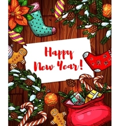 New year holiday sketched poster vector