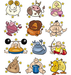overweight cartoon zodiac signs vector image vector image