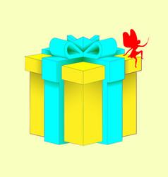 Realistic volumetric yellow gift box with ribbon vector