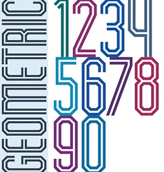 Retro colorful tall geometric numbers with vector