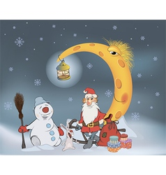 Santa Claus his friends and Christmas gifts vector image