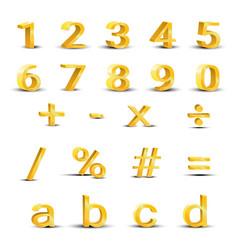set of golden numbers vector image vector image