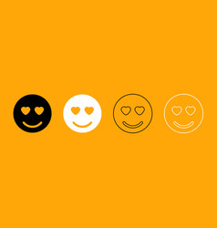 smile black and white set icon vector image vector image