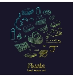 Summer picnic doodle set various meals drinks vector