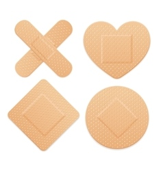 Aid band plaster strip medical patch set vector