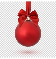 Red Christmas ball on transparent background vector image