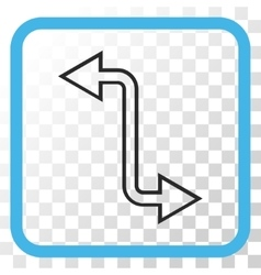 Curved exchange arrow icon in a frame vector