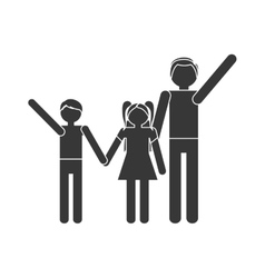 Silhouette family parent son daughter hands hold vector