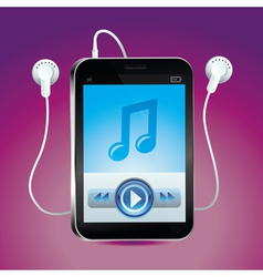 Music player with touchscreen and play button vector