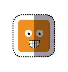 sticker square colorful shape emoticon surprised vector image