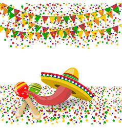 cinco de mayo red pepper maracas sombreros vector image