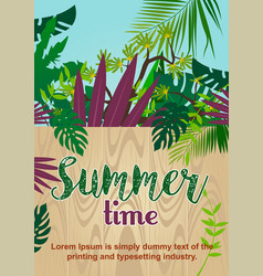Wooden fence in tropical jungle summer time text vector