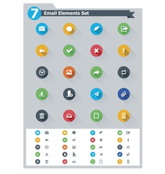 Flat email icon set vector image
