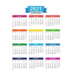2021 Year calendar isolated on white background vector image vector image