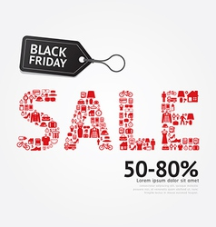 Sale Discount Icon Styled Black Friday Advertising vector image