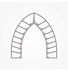 Flat line icon for lancet arch vector image