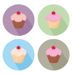 Sweet cake flat icon set isolated on white vector