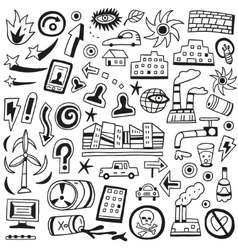 Ecology doodles vector