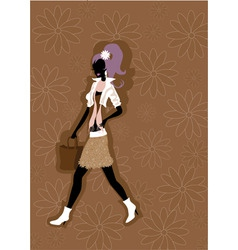 walking young woman silhouette vector image