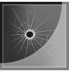 Glass plate with bullet hole vector