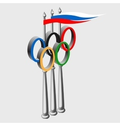 Olympic sign and a russian flag vector